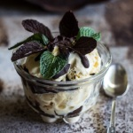 Vanilla Ice Cream with Chocolate Mint Leaves and Mint-Infused Ganache