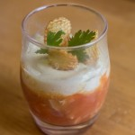 Verrine with marinated shrimp, artichoke hearts and garlic mousse