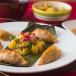 Pork Pot Stickers with Achiote Sauce and Pineapple Salsa