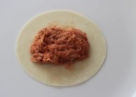 Place shredded pork on top of wanton wrapper
